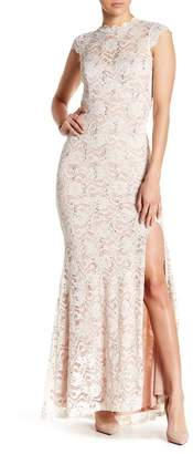 Jump Cap Sleeve Sequin Lace Gown