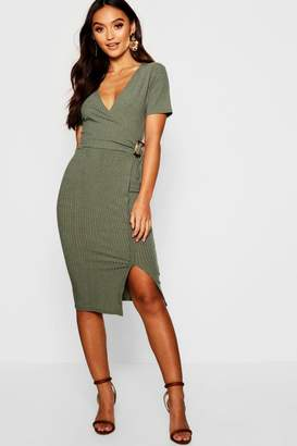 boohoo Petite Jumbo Rib Buckle Detail Midi Dress