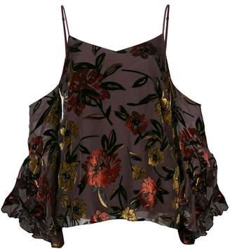 Amanda Uprichard floral cold shoulder blouse