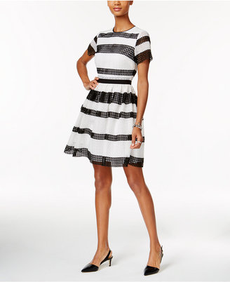 MICHAEL Michael Kors Laser-Cutout Striped Fit & Flare Dress $295 thestylecure.com