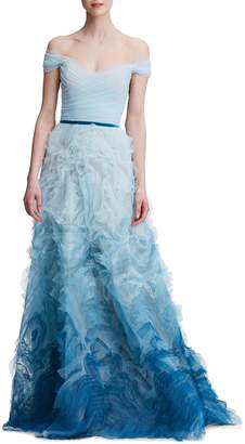 Marchesa Ombre Off The Shoulder Gown