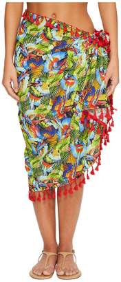 San Diego Hat Company BSS1806 Woven Bird Print Sarong Cover-Up Scarves