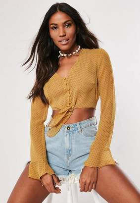 Missguided Mustard Polka Dot Mesh Tie Front Crop Blouse