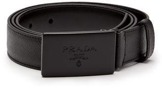 Prada Rectangular-buckle leather-trimmed canvas belt