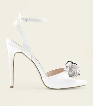 New Look Off White Satin Sequin Flower Wedding Sandals