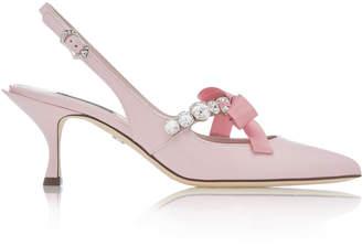 Dolce & Gabbana Crystal And Bow-Embellished Leather Slingbacks