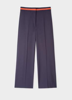 Paul Smith Women's Navy Wool-Blend Wide Leg Trousers With Contrast Waistband