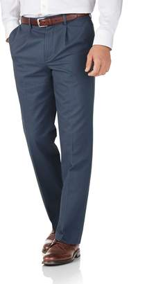 Charles Tyrwhitt Airforce Blue Classic Fit Single Pleat Non-Iron Cotton Chino Pants Size W34 L30