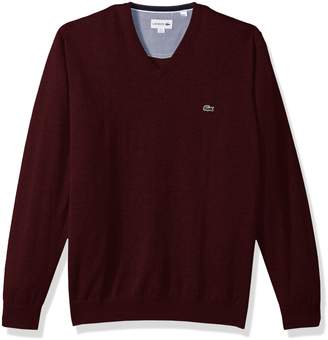 Lacoste Men's V Neck Cotton Jersey Sweater with Green Croc Sweater