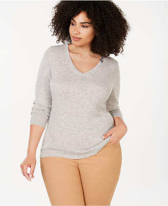 Charter Club Plus Size Pure Cashmere V-Neck Sweater
