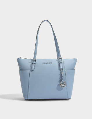 MICHAEL Michael Kors Jet Set Item East-West Top Zip Tote Bag in Tile Blue Saffia Leather