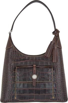 Dooney & Bourke Savannah Croco Embossed Leather Hobo Handbag