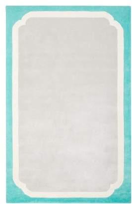 Pottery Barn Teen Color Pop Border Rug, 8x10, Pool/Gray