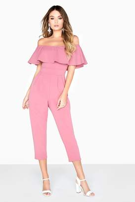 3c1175f619e at Little Mistress · Girls On Film Pink Bardot Jumpsuit