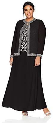J Kara Women's Plus Size Beaded Jacket Dress