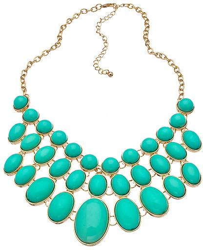 Blu Bijoux Mint Cabochon Bib Necklace