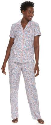 Croft & Barrow Women's Printed Shirt & Pants Pajama Set