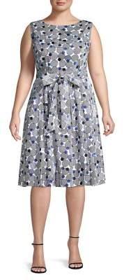 Anne Klein Plus Polka Dot Pleated Fit-&-Flare Dress