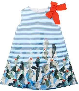 Il Gufo Cactus Print Striped Cotton Poplin Dress