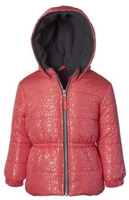 Pink Platinum Foil Printed Hooded Puffer Jacket (Little Girls & Big Girls)