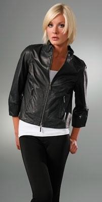 Vince 3/4 Sleeve Leather Jacket