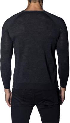 Jared Lang Men's Long-Sleeve Wool-Blend Sweater, Charcoal
