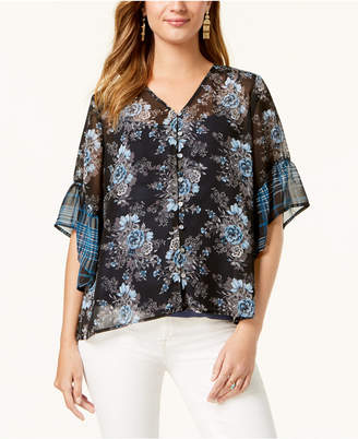 Style&Co. Style & Co Mixed Print Button-Front Blouse