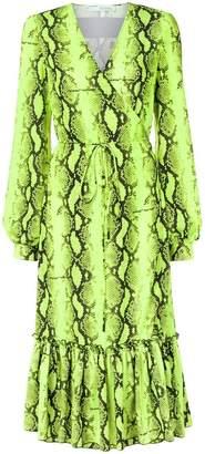 Off-White snake print wrap dress
