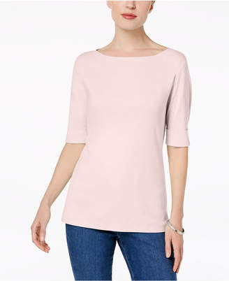 Karen Scott Cotton Elbow-Sleeve Top