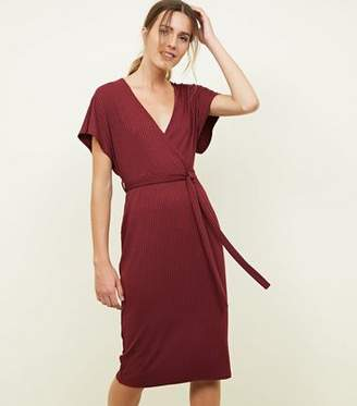 New Look Plum Ribbed Wrap Front Midi Dress