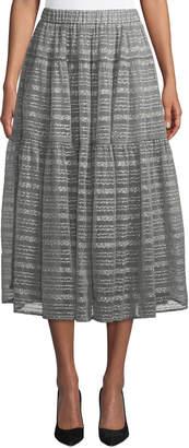 Co Metallic Rope-Stripe Tiered Ruffle Midi Skirt