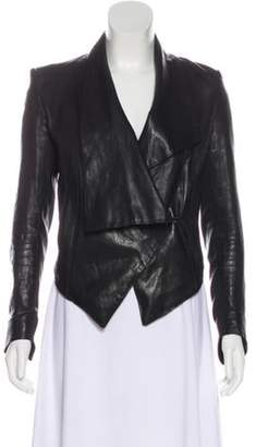 Helmut Lang Asymmetrical Leather Jacket, Black Asymmetrical Leather Jacket,