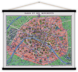 Lime Lace French Cotton Map Print Of Paris And Its Monuments