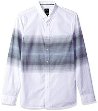 Armani Exchange A|X Men's Long Sleeve Button Down Shirt with Fading