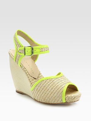 Loeffler Randall Valentine Raffia & Leather Wedge Sandals