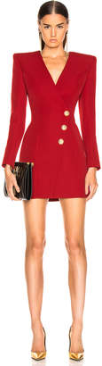 Balmain Wrap Blazer Dress in Dark Red | FWRD