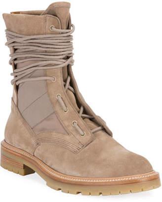 Amiri Men's Mesh-Inset Suede Combat Boots