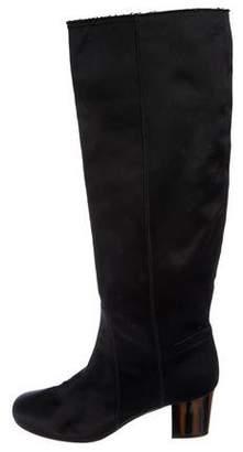 Lanvin Satin Round-Toe Boots
