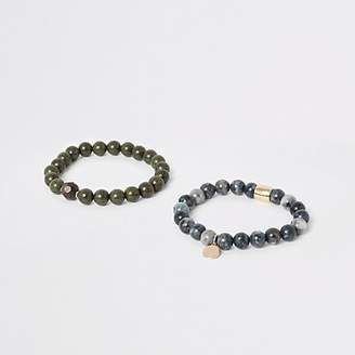 River Island Green and blue bead bracelet pack