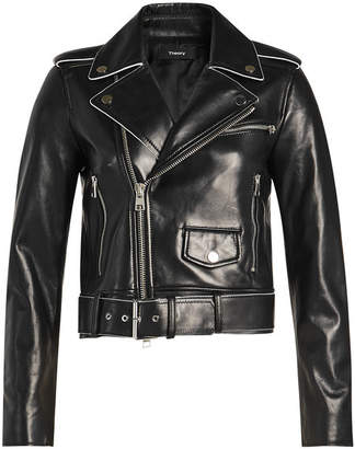 Theory Shrunken Leather Biker Jacket