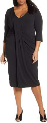 ELOQUII Drape Front Body-Con Dress