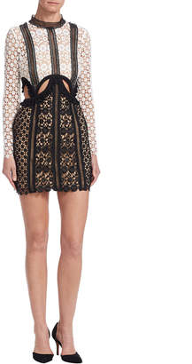 Self-Portrait Payne Cut Out Mini Dress Monochrome