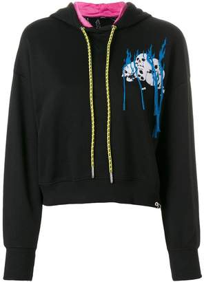 Diesel embroidered cropped hoodie