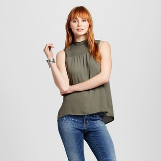 Mossimo Women's Sleeveless Ruched Neck Tank Top - Mossimo $19.99 thestylecure.com