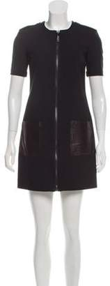 Burberry Leather-Accented Mini Dress Black Leather-Accented Mini Dress