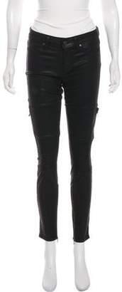 Paige Metallic Mid-Rise Skinny Pants