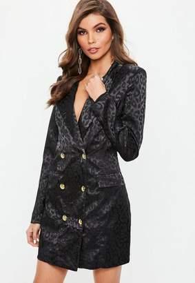 Missguided Black Satin Animal Print Blazer Dress