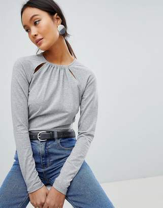 Asos DESIGN Cut Out Detail Long Sleeve Casual Body