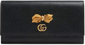 Gucci Leather continental wallet with bow