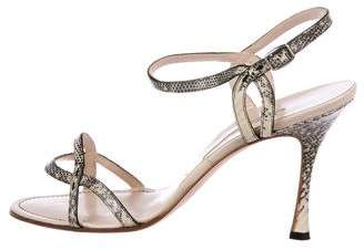 Manolo Blahnik Lizard Ankle-Strap Sandals